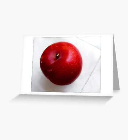 Red Plum on a White Cloth Greeting Card