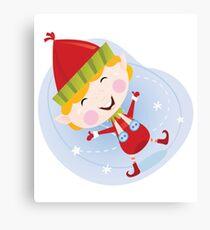 Santa christmas elf in red costume. Cute christmas elf in red. Vector cartoon Illustration. Canvas Print