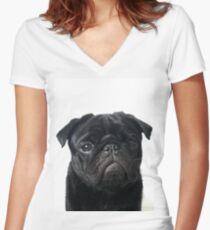 Hugo - The Black Pug Women's Fitted V-Neck T-Shirt