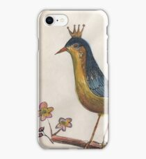 Crowned perky bird iPhone Case/Skin