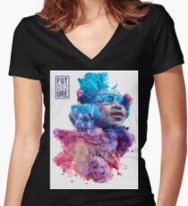 Future Portrait + DS2 Women's Fitted V-Neck T-Shirt
