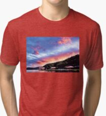 Sky Fire Sunset. Photo Art, Prints, Gifts, and Apparel. Tri-blend T-Shirt