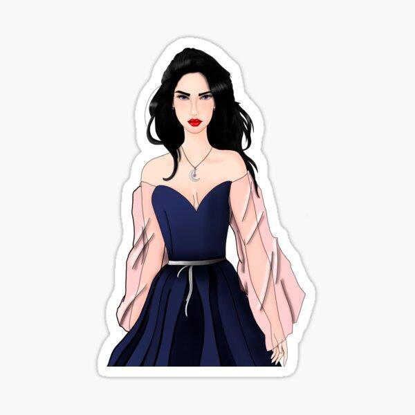 mediaval princess with a long hair black Sticker