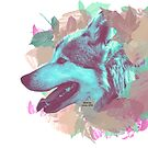 Wolf and leaves by licographics