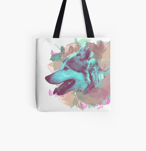 Wolf and leaves All Over Print Tote Bag