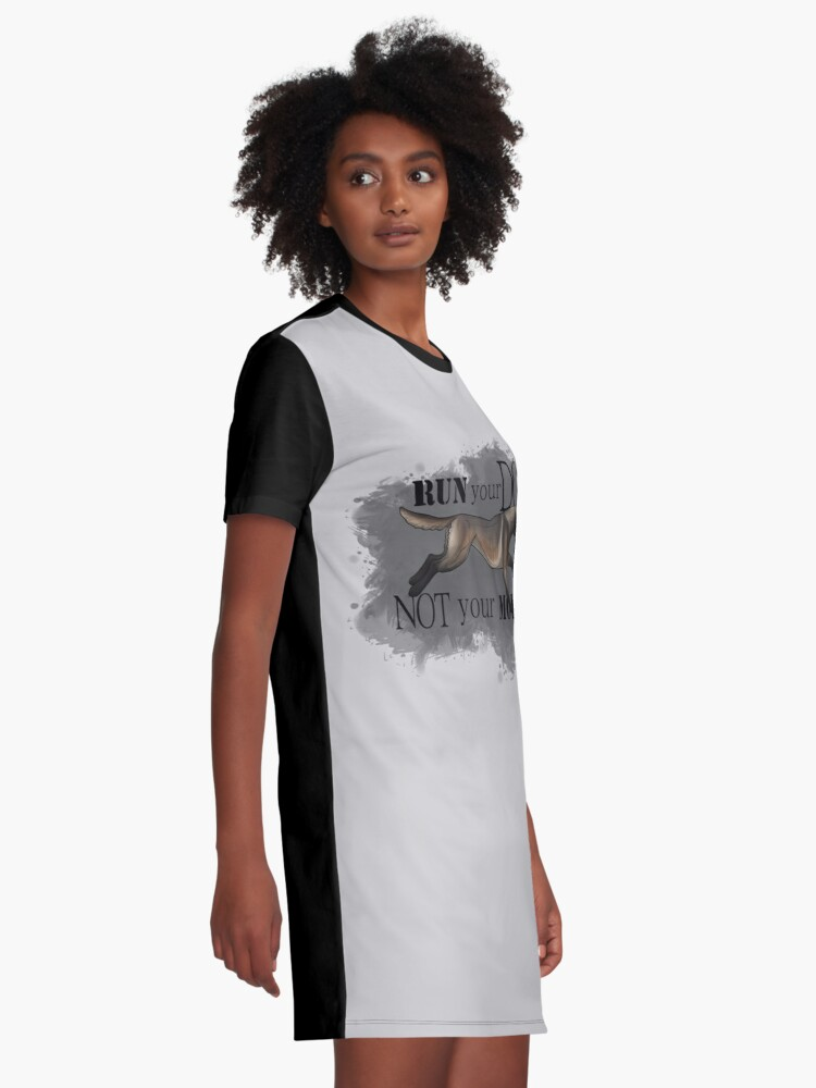 Alternate view of Run Your Dog, Not Your Mouth Belgian Malinois dark fawn Graphic T-Shirt Dress