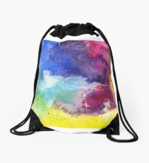 Watercolor Map of Wyoming, USA in Rainbow Colors Drawstring Bag
