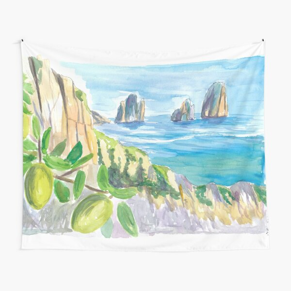 Romantic Italian Dreams With Capri Rocks and Lemon Tree Tapestry