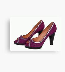 Purple high heels shoes Canvas Print