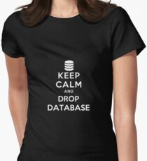Keep calm and drop database Womens Fitted T-Shirt