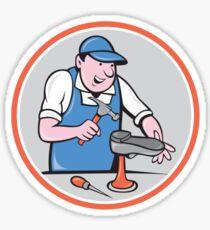 Shoemaker With Hammer Shoe Circle Cartoon Sticker