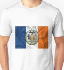 New York City Coat of Arms - City of New York Seal over NYC Flag  Unisex T-Shirt