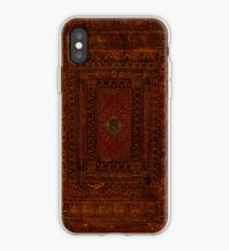 Rustic Engraved Leather Book Cover Design iPhone Case