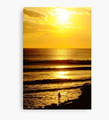 Sunset and a Surfer Canvas Print