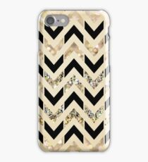 Black & Gold Glitter Herringbone Chevron on Nude Cream iPhone Case/Skin