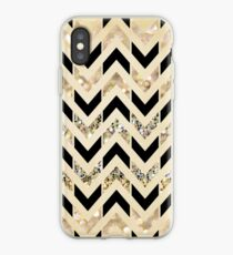 Black & Gold Glitter Herringbone Chevron on Nude Cream iPhone Case
