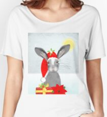 Cute Rabbit Christmas Holidays Themed Whimsy Design Women's Relaxed Fit T-Shirt
