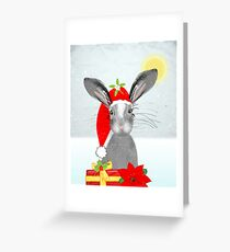 Cute Rabbit Christmas Holidays Themed Whimsy Design Greeting Card