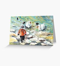 The Child And The Birds On Lake Constance Greeting Card