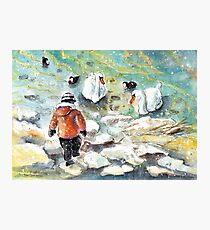 The Child And The Birds On Lake Constance Photographic Print