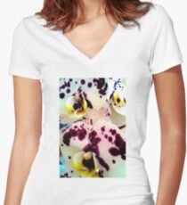 SPOTTED ORCHID Women's Fitted V-Neck T-Shirt