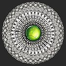 Green Gemstone Mandala on Charcoal Background by WelshPixie