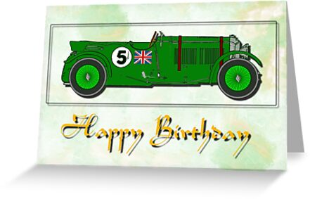 Bentley 4.5ltr - Happy Birthday card by Dennis Melling
