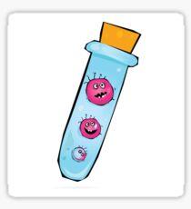 Viruses in test tube. Vector Illustration of funny viruses. Sticker
