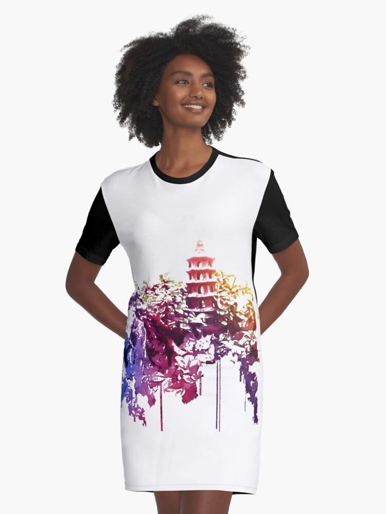 Tower in the Bonsai garden 1 Graphic T-Shirt Dress Front
