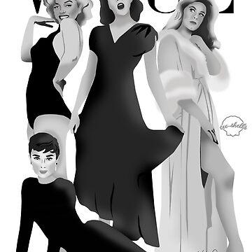 """VOGUE"" Marilyn Monroe, Judy Garland, Audrey Hepburn & Elizabeth Montgomery by TeeShells"