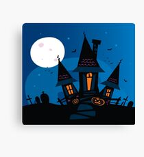 Haunted scary house. Old scary mansion. Illustration. Canvas Print