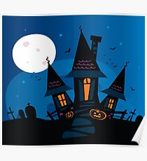 Haunted scary house. Old scary mansion. Illustration. Poster