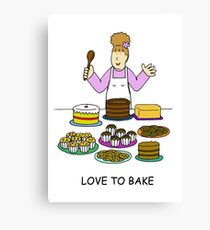Love to bake, lady with cakes. Canvas Print