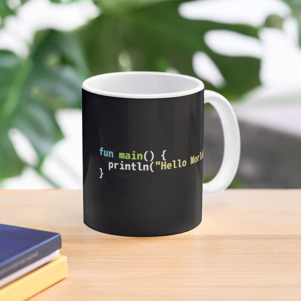 Hello World Kotlin Code - Dark Syntax Scheme Coder Design Mug