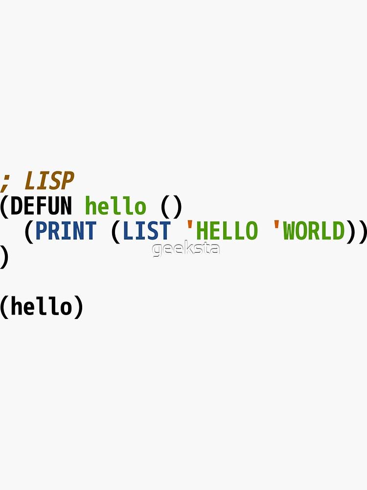 Hello World Lisp Code - Light Syntax Scheme Coder Design by geeksta