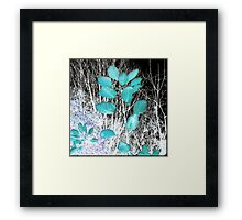 Turquoise Leaves Winter Night Framed Print