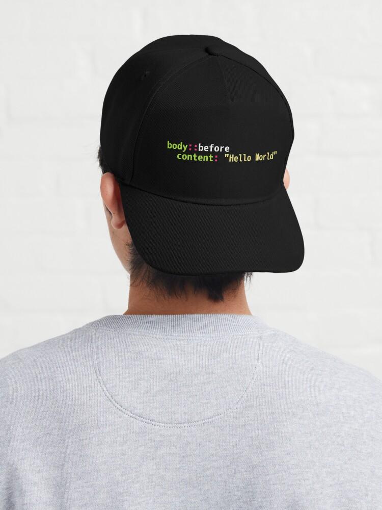 Alternate view of Hello World Sass Code - Dark Syntax Scheme Coder Design Cap