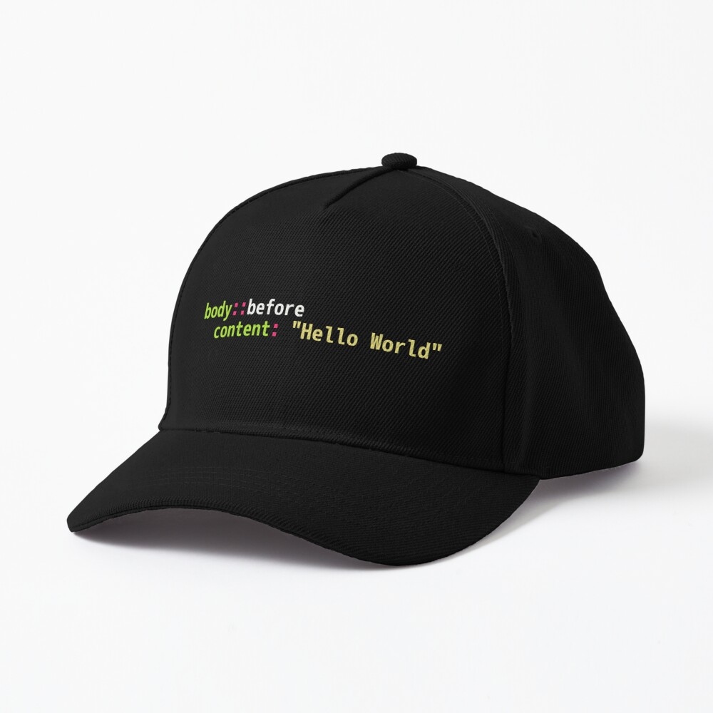 Hello World Sass Code - Dark Syntax Scheme Coder Design Cap