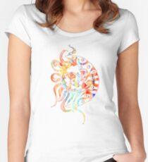 Sol Luna Watercolor Sun Moon Digital Art Women's Fitted Scoop T-Shirt
