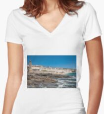 Porthleven, Cornwall Women's Fitted V-Neck T-Shirt