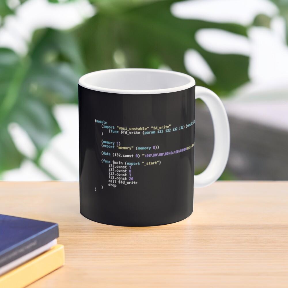Hello World WebAssembly Code - Dark Syntax Scheme Coder Design Mug