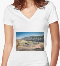 Mousehole, Cornwall Women's Fitted V-Neck T-Shirt