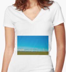 Cornish Windfarm Women's Fitted V-Neck T-Shirt