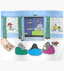 Penguins Playing Videogames Poster
