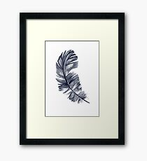 Navy Feather Art Print Blue Watercolor Painting Illustration  Framed Print