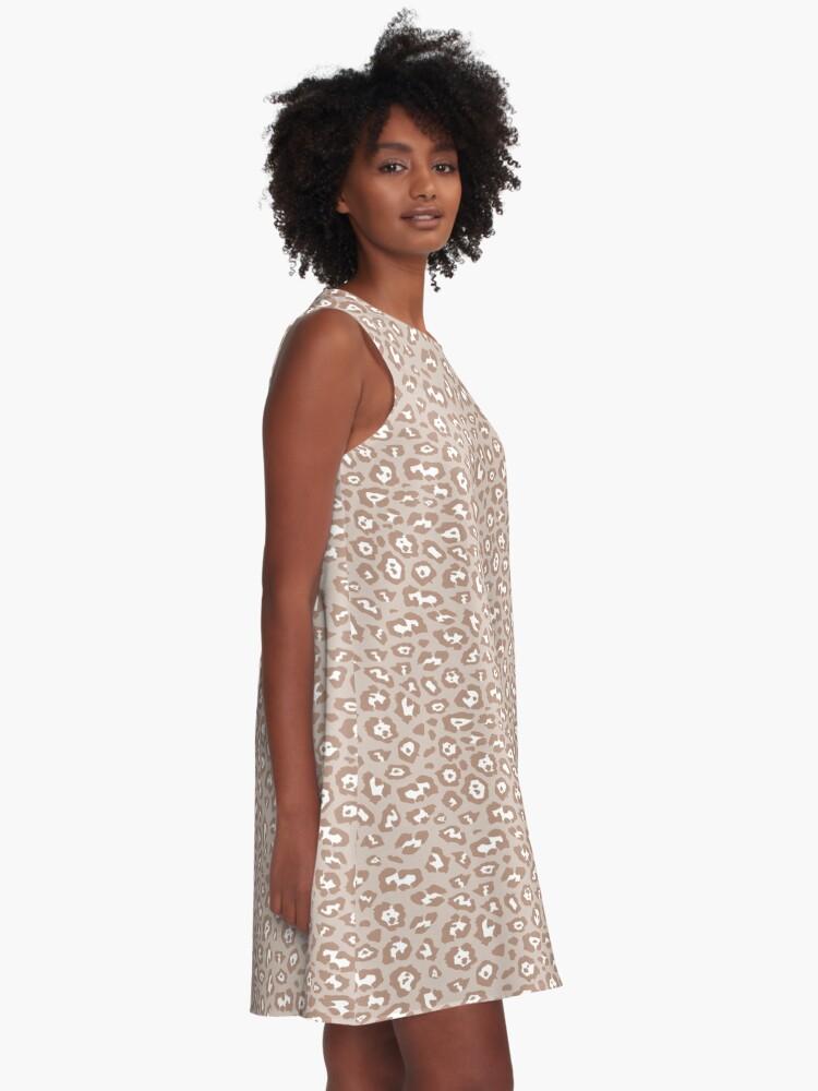 Alternate view of Beige Tan White Leopard Print Pattern A-Line Dress