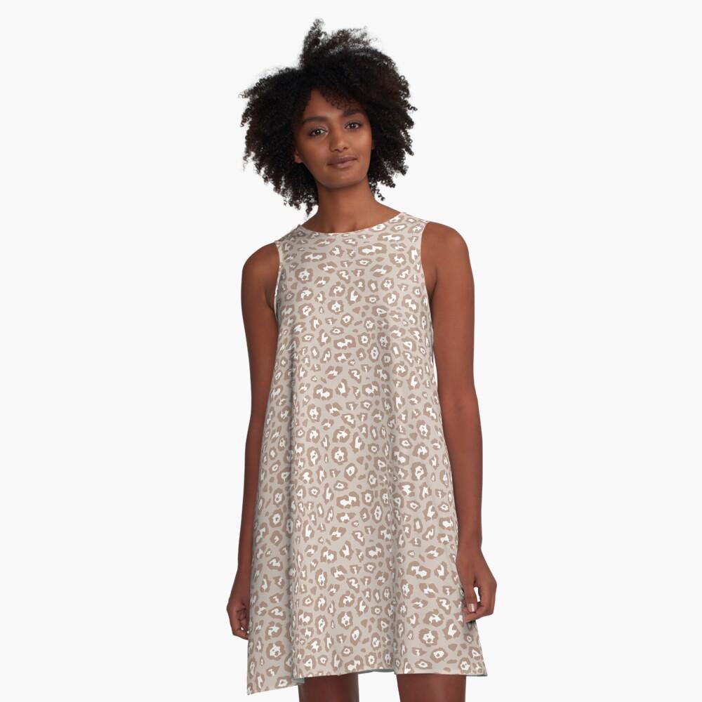 Beige Tan White Leopard Print Pattern A-Line Dress