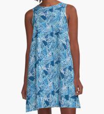 Beachy Blues Triangles  A-Line Dress