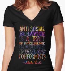 Watercolor-Anti Social Behavior, Nikola Tesla Quote Women's Fitted V-Neck T-Shirt