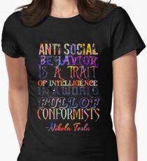 Watercolor-Anti Social Behavior, Nikola Tesla Quote Women's Fitted T-Shirt